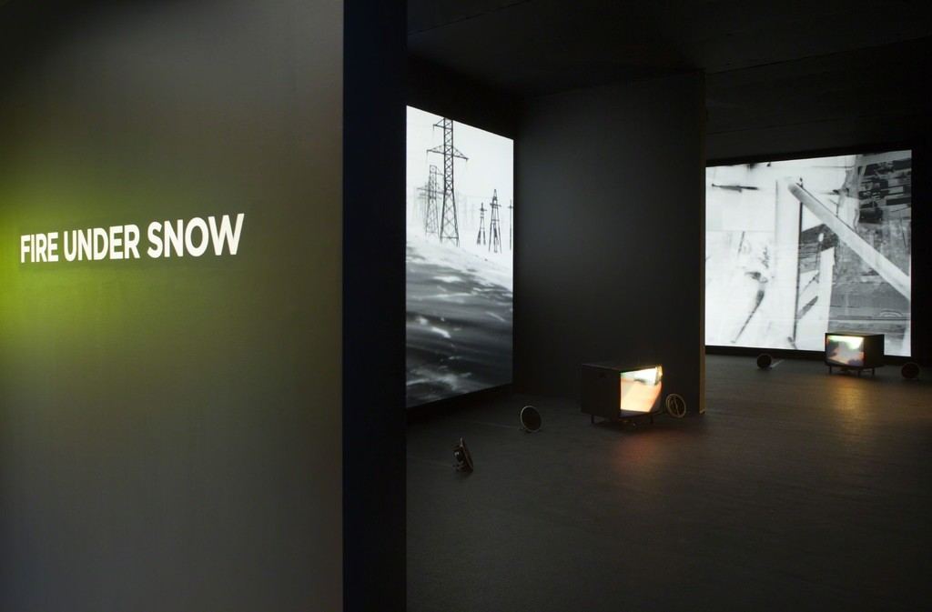 Installation shot of Darren Almond's Less Than Zero, 2013-2014. Multi channel video installation with audio. Photo from the exhibition 'Fire under Snow: New film and video works at Louisiana', 27.1.-8.5.2016, Louisiana Museum of Modern Art.