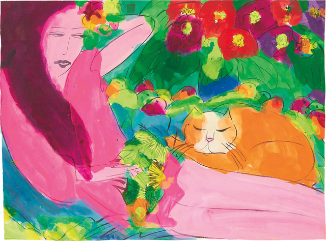 Walasse Ting 丁雄泉, 'Woman with Cat', Phillips