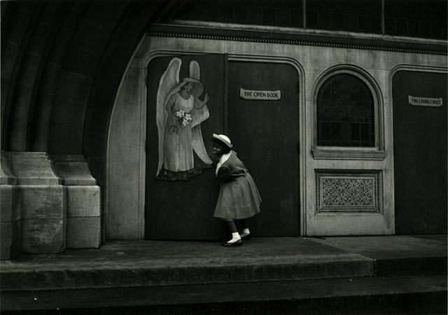 Yasuhiro Ishimoto, 'Chicago (girl at church entrance)', 1959, 1961, printed late 1970s, IBASHO