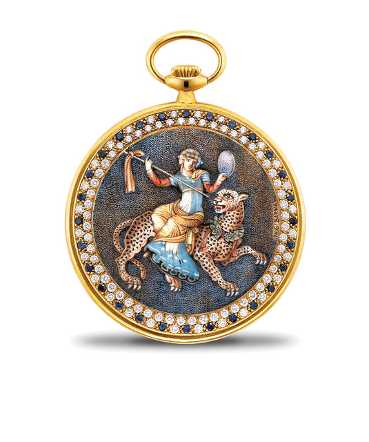 Audemars Piguet, 'A very rare and fine yellow gold and gem-set openface pocket watch with multi-chrome enamel with Dionysos riding a leopard by Ni. Gi Barna', 1982, Phillips