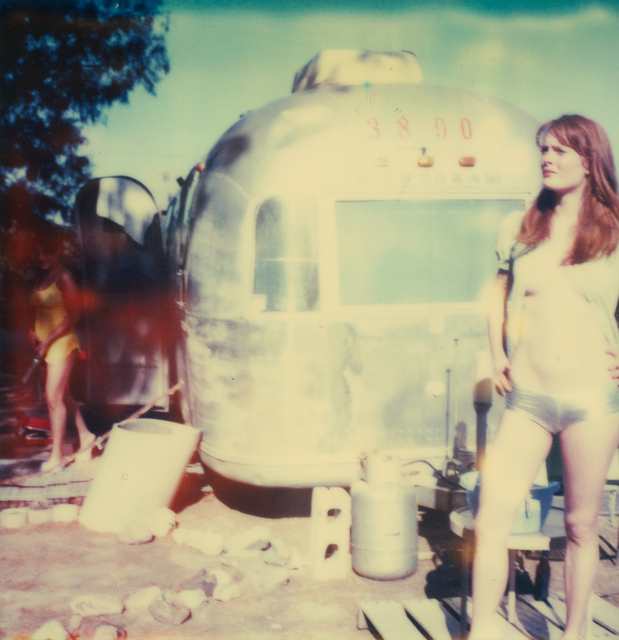 Stefanie Schneider, 'Austen and Daisy in front of Trailer II', 2005, Photography, Analog C-Print, hand-printed by the artist on Fuji Crystal Archive Paper, based on a Polaroid, not mounted, Instantdreams