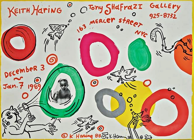 , 'Original, unique signed Radiant Baby Drawing with ink inscription on limited edition historic Shafrazi Gallery offset lithograph exhibition poster,' 1988, Alpha 137 Gallery