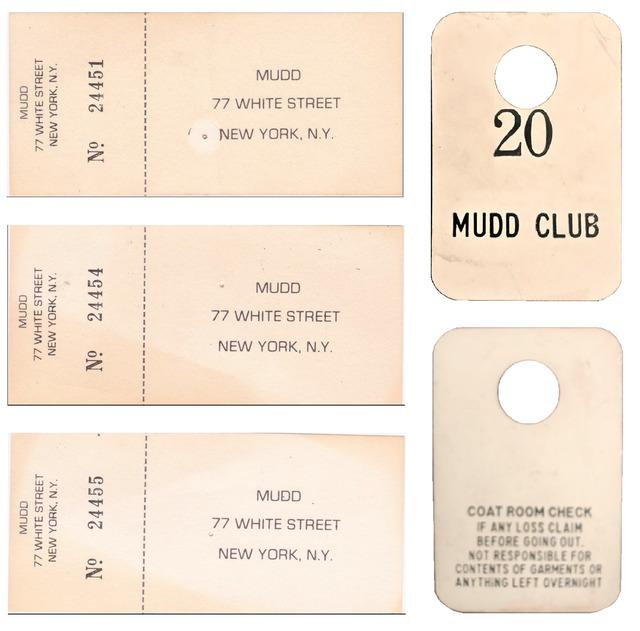 Andy Warhol, 'Mudd Club NYC, 4-PIECE SET, (1) Coat Check Stub, (3) Admission Tickets, circa. 1978-83', 1978-1983, Ephemera or Merchandise, Plastic & Paper, VINCE fine arts/ephemera