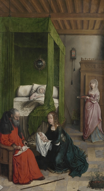 Juan de Flandes, 'The Birth and Naming of John the Baptist', 1496-1499, Painting, Oil on wood, Cleveland Museum of Art