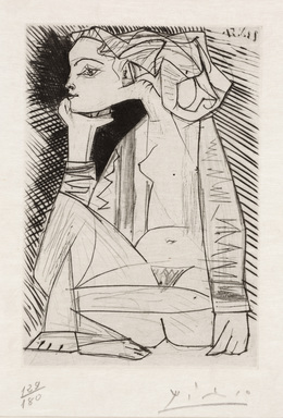 Pablo Picasso, 'The Lovers, Geneviève Looking for Me, II (Les Amoreux, Geneviève cherche moi II)', 1951, Print, Engraving and drypoint, Dallas Museum of Art