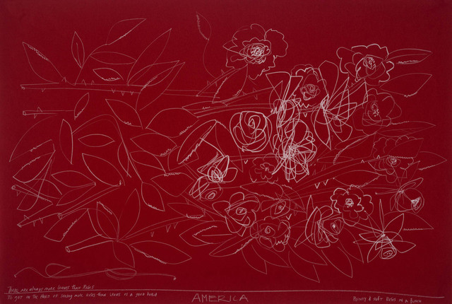 , '3 Roses of Different Shape on Red Paper,' 2018, JoAnne Artman Gallery