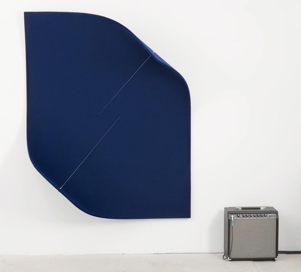 Naama Tsabar, Work On Felt (Variation 15) Dark Blue, 2017, photo: Christopher Stach, courtesy: Dvir Gallery