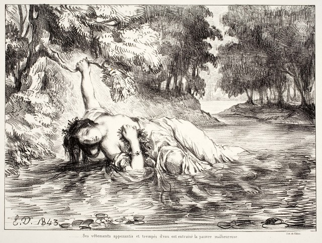 ", 'Mort d'Ophélie (Act IV. Sc. VII), from the series ""Hamlet"",' 1843, Davis Museum"