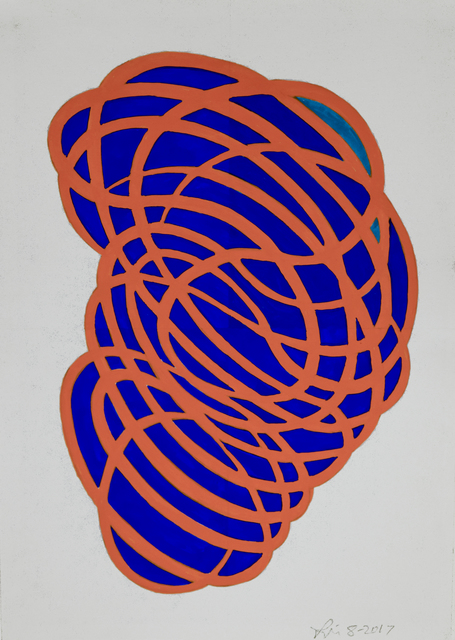 , 'Gouache Wall Drawing (orange, blue),' 2017, Robischon Gallery