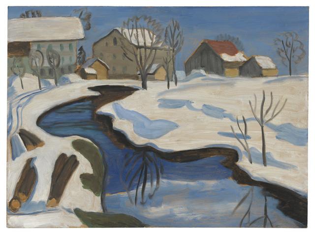 , 'Moorbach mit Häusern im Schnee,' 1932, Ludorff