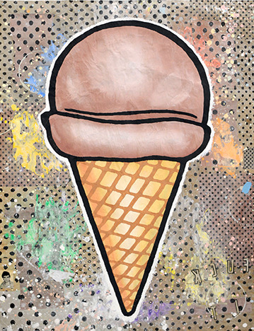 Donald Baechler, 'Brown Cone', 2020, Drawing, Collage or other Work on Paper, Gesso, Flashe and paper collage on paper, Dru Arstark Fine Art