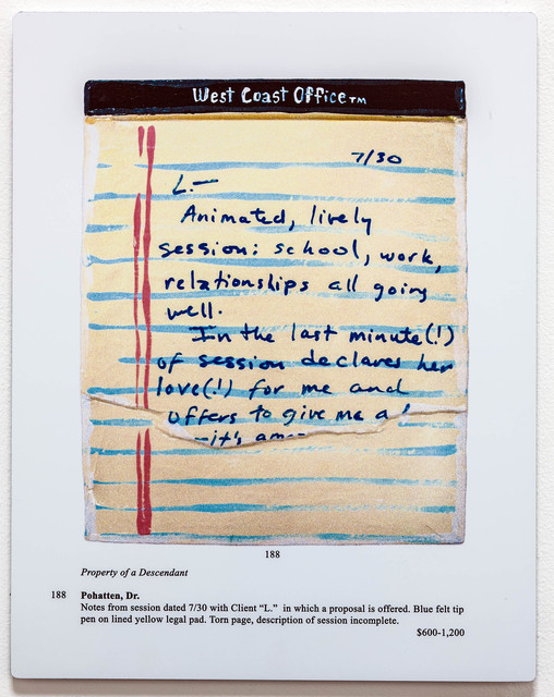 , 'Auction Page (Dr's Notes: Lively Session),' 2013, Rosamund Felsen Gallery