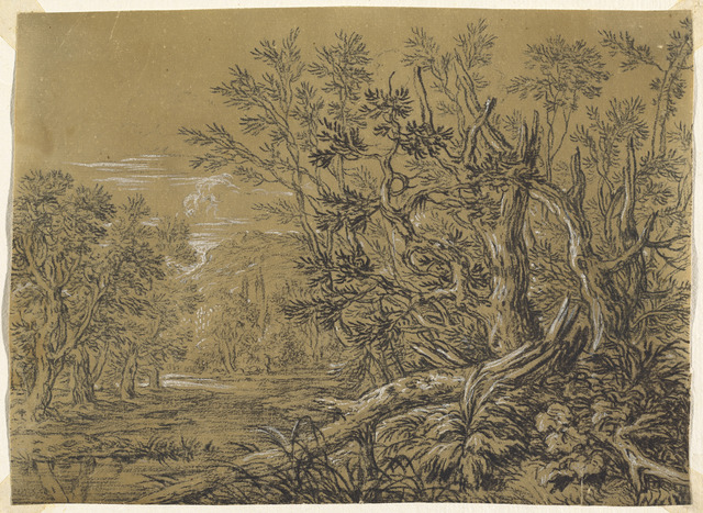 Jonas Umbach, 'Stream through an Ancient Forest', Drawing, Collage or other Work on Paper, Black chalk heightened with white gouache on brown laid paper, National Gallery of Art, Washington, D.C.