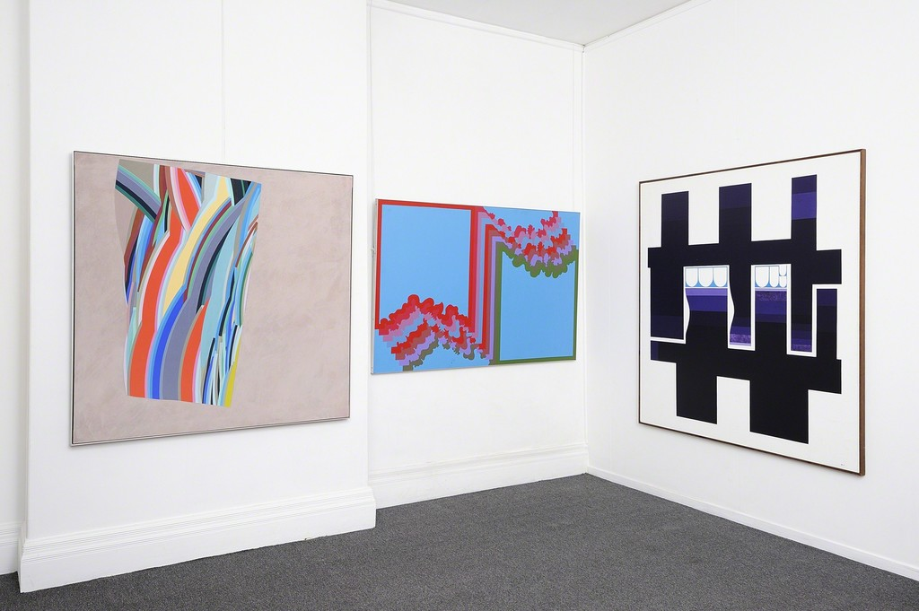 Alun Leach-Jones, Red and Cream to Green, 1976 (left) Col Jordan, Framespace with Uncloud Crowd, 1972 (middle)  George Johnson, Purple Relationship No.1, 1971 (right)