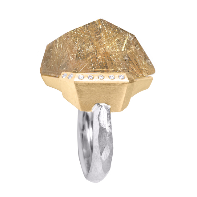, 'Faceted Rutilated Quartz White Diamond Gold Palladium Handmade Facets Ring,' 2016, Szor Collections