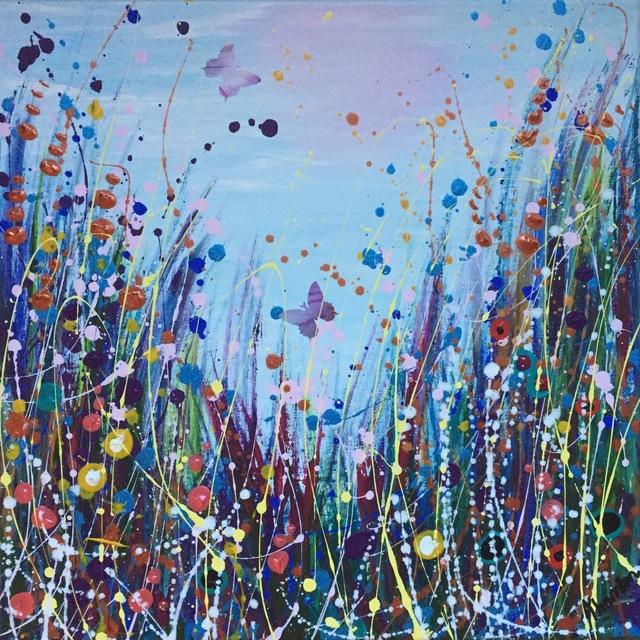 , 'Four Seasons Winter, Original, Acrylic Paint, Cool Blue Tones, Copper, Signed,' 2016, Flat Space Art