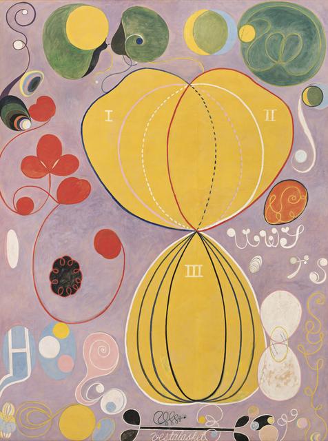 Hilma af Klint, 'Group IV, The Ten Largest, No. 7, Adulthood (Grupp IV, De tio största, nr 7, Mannaåldern), from untitled series', 1907, Painting, Tempera on paper mounted on canvas, Guggenheim Museum