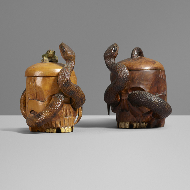 'Humidors, pair', Design/Decorative Art, Carved and lacquered wood, glass, Rago/Wright