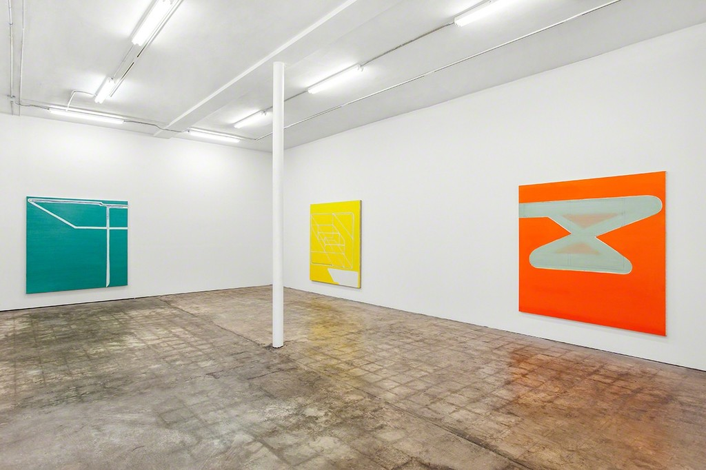 Paul Pagk, Khu, 2013, Amisi, 2014, and Untitled Green in Orange, 2012/2013.