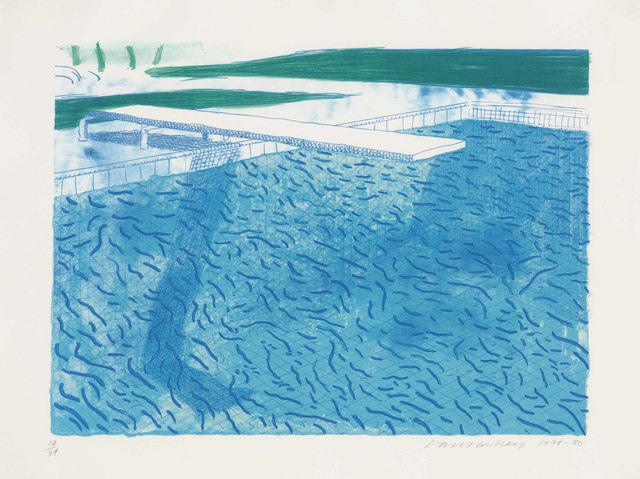 David Hockney, 'Lithograph of water made of thick and thin lines and a light blue and a dark blue wash', 1978-80, Christie's
