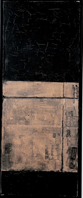 Robert Rauschenberg, 'Untitled [matte black painting with Asheville Citizen]', ca. 1952, Robert Rauschenberg Foundation