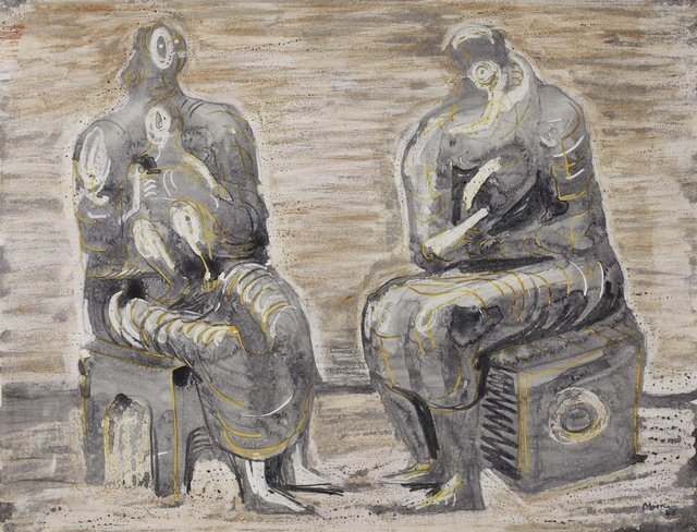 , 'Two Women and Children,' 1945, Connaught Brown