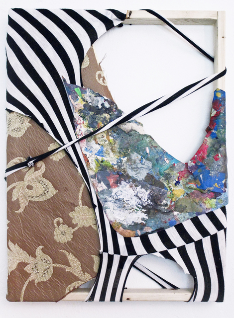 Clara Varas, 'Untitled (Stripes)', 2014, Painting, Mixed media collage on fabric, Spinello Projects
