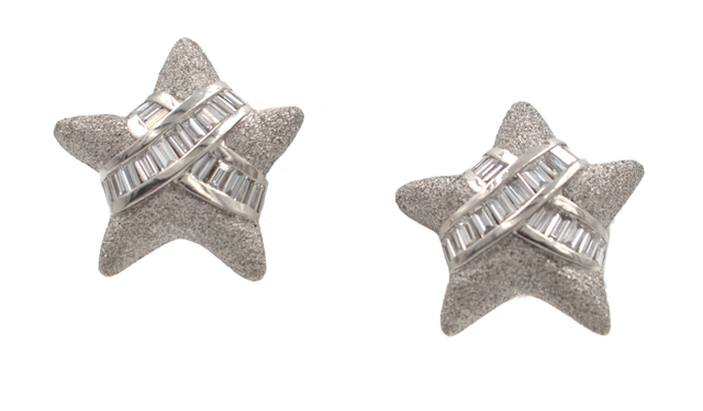 , '3.42 Carat Diamond Platinum Earrings,' , form & concept