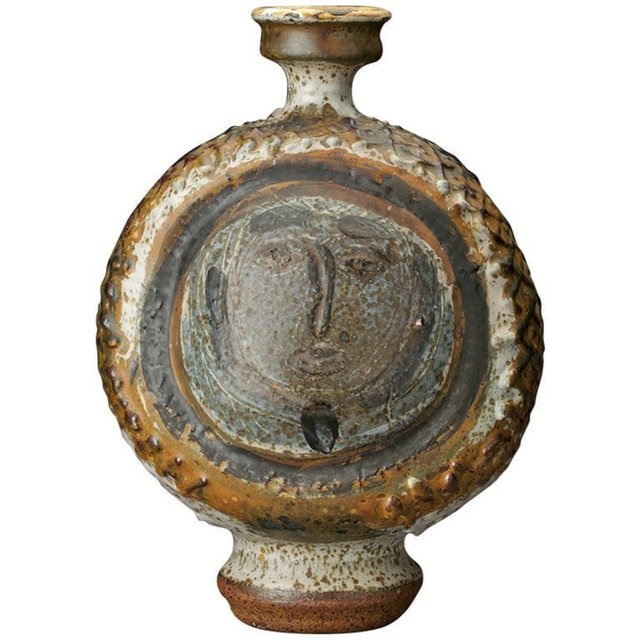 , 'Peter Voulkos Early Bottle with Face,' 1954, Jeffrey Spahn Gallery