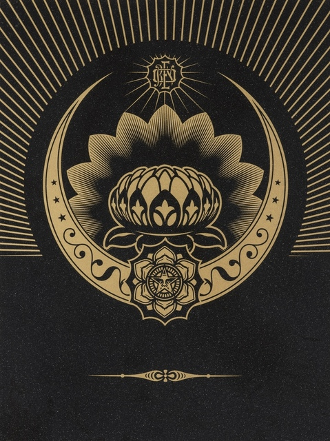 Shepard Fairey, 'Obey Lotus Crescent (Black & Gold)', 2013, Forum Auctions