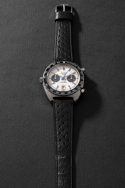 Heuer, 'A rare and attractive stainless steel chronograph wristwatch with silver dial, black registers and date', Circa 1970, Phillips