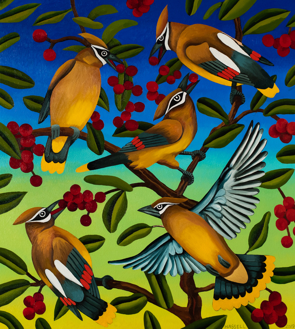 Billy Hassell, 'Cedar Waxwings and Berries', 2019, Conduit Gallery