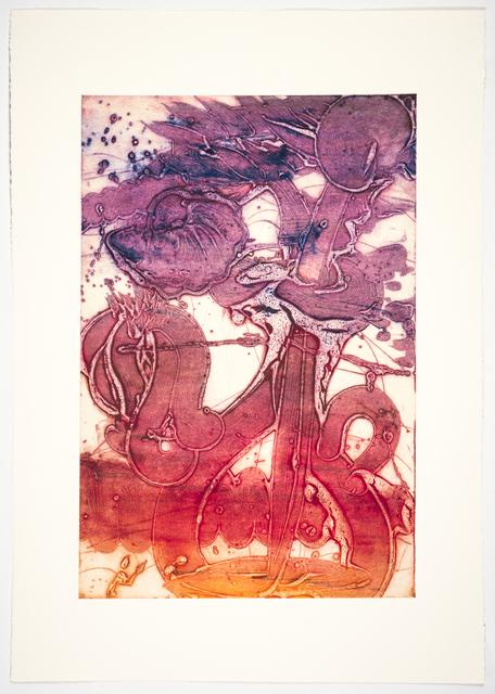 Catherine Howe, 'Bouquet (sunflower, orange, violet, chine collé)', 2019, Print, Unique collagraph, chine collé, Manneken Press
