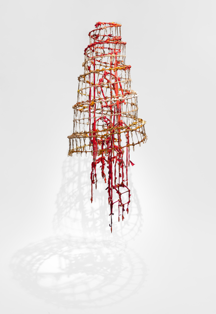 Raine Bedsole, 'BEACON ', 2020, Sculpture, Steel, fabric, antique Italian book pages, wire, lead, citrine, Callan Contemporary