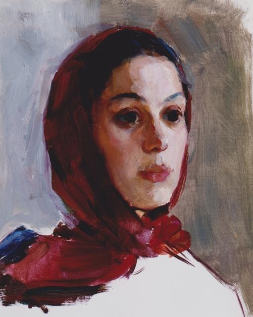 Marina A. Ivanova, 'Girl with a red headscarf      ', 1959, Painting, Oil on board, Galerie Lilja Zakirova