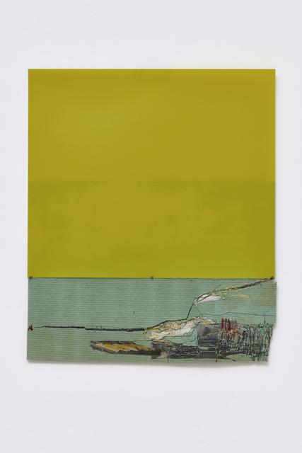 Cathryn Boch, 'Sans titre', 2019, Mixed Media, Large green plastic, compressed wood, collage, image from printed press, machine stitching, hand stitching, Galerie Papillon