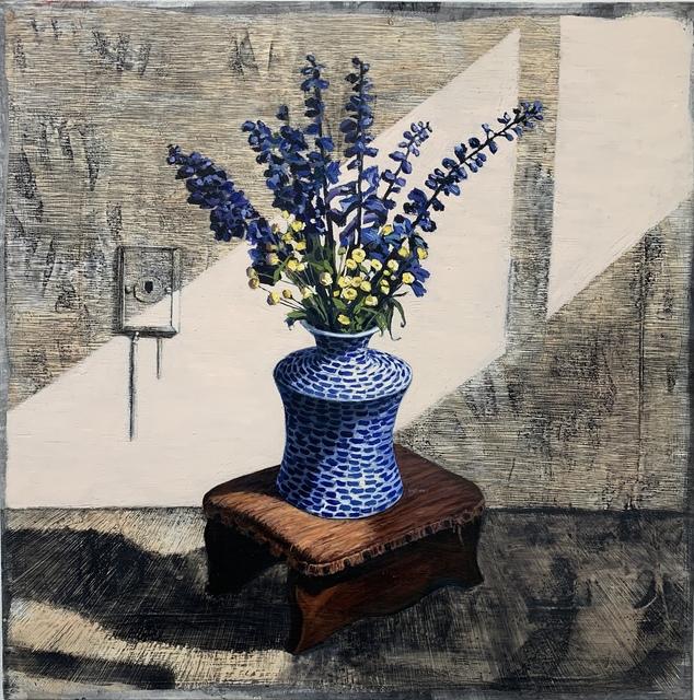 , 'Interior Portrait (Delphiniums with Gram's Footstool),' 2018, Klowden Mann