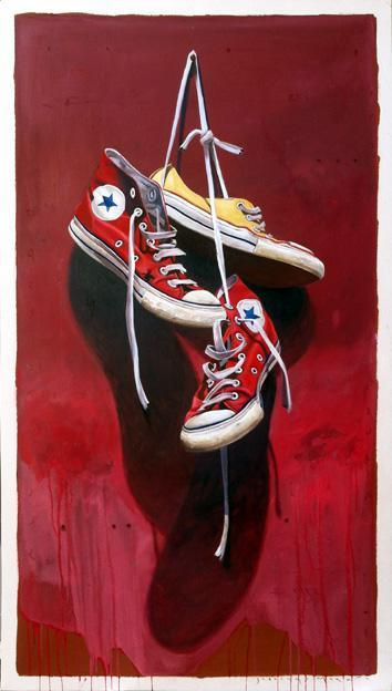 """, '""""#533"""" Red and Yellow Converse sneakers with vibrant red Background,' 2010-2018, Eisenhauer Gallery"""
