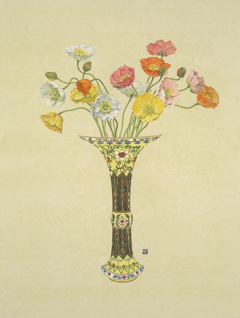 Lee Jung Eun (b. 1971), 'Chorus - Poppy', 2017, Drawing, Collage or other Work on Paper, Coloring on Korean paper (Jangji) 장지에 채색, Leehwaik Gallery