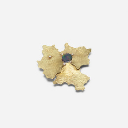 A gold, black opal and diamond brooch