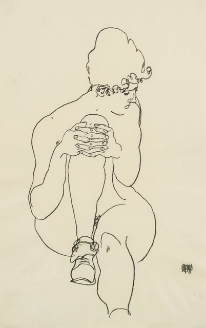 , 'Seated Nude with Right Knee Raised, Looking to the Right,' 1918, Galerie St. Etienne