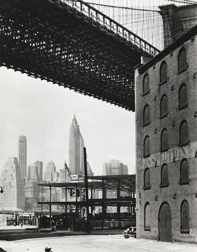 ", 'Brooklyn Bridge, Water and Dock Streets (from the series ""Changing New York""),' 1936, Bookstein Projects"