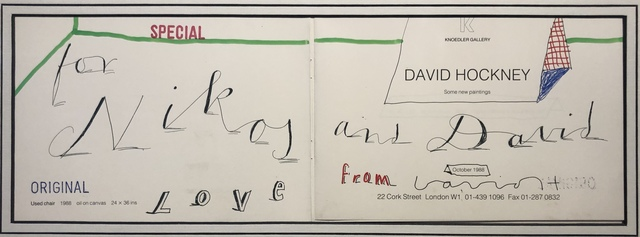 David Hockney, 'Hand Drawn with doodles 'Love from David' for Nikos Stangos', 1988, Mr & Mrs Clark's