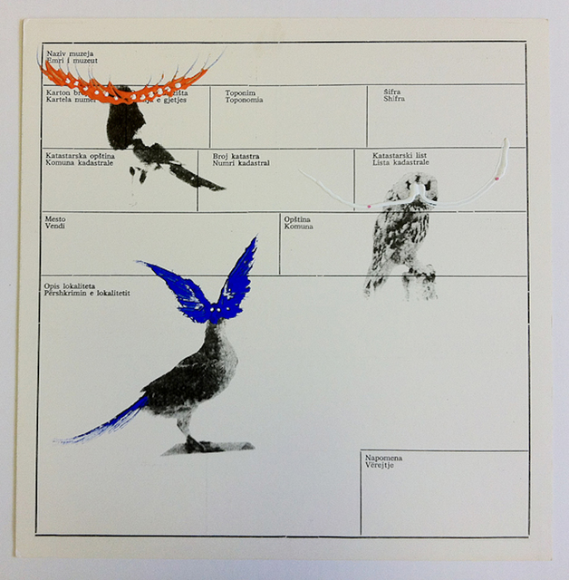 , 'Several birds fly away when they understand it (Museum archive paper 8),' 2013, ChertLüdde
