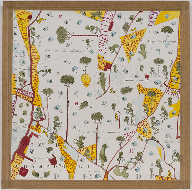 Philippe Favier, 'Meurtre en Saône et Loire (7)', 2008-2009, Painting, Drawing, ink and watercolor on map, wood, Wilde
