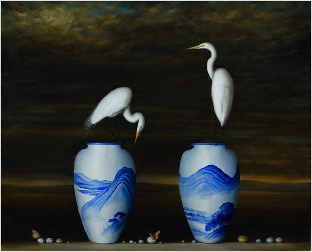 David Kroll, 'Two Vases and Egrets', 2015, Lisa Sette Gallery