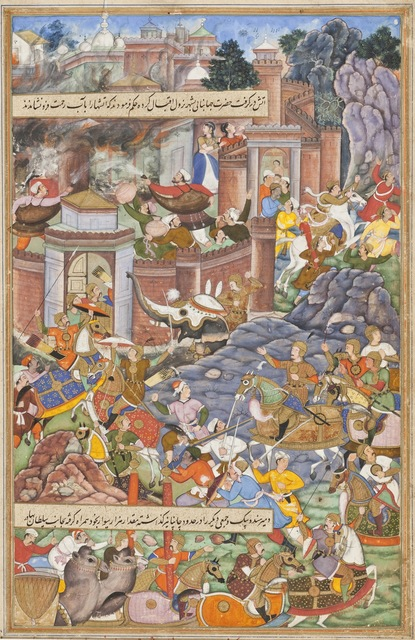 Dharmdas, 'Flight of Sultan Bahadur During Humayun's Campaign in Gujarat, 1535, Folio from an Akbarnama (History of Akbar)', ca. 1590, Los Angeles County Museum of Art