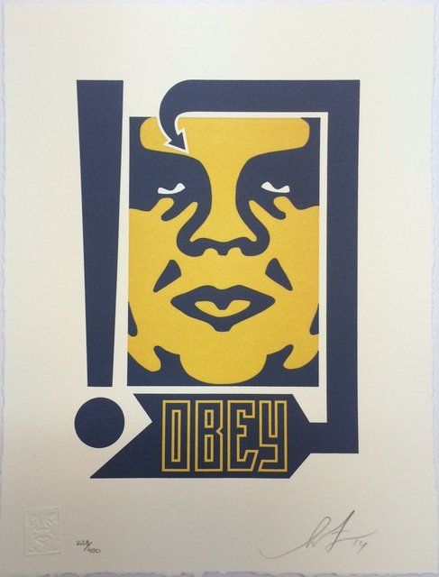 Shepard Fairey, 'Giant Mustard & Navy - Letterpress', 2014, Blackline Gallery