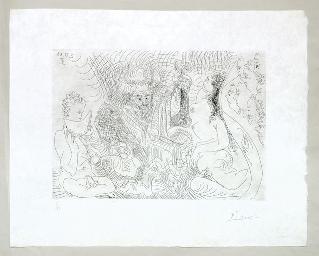 , 'Entierro del Conde de Orgaz. (Theatre Scene with Cuckold holding a Phallus, Nude Watermelon Eater, Eagle and Nude.,' 1966, Peter Harrington Gallery