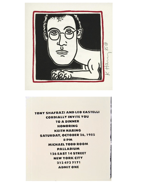 "Keith Haring, '""SELF-PORTRAIT"" (Invitation to Palladium Haring Dinner Party), 1985, SIGNED/Dated Edition.', 1985, VINCE fine arts/ephemera"